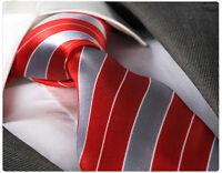 RED & GREY STRIPE TIE & HANKY - ITALIAN DESIGNER Milano Exclusive