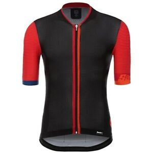 Santini Tono 2.0 Men's Short Sleeve Cycling Jersey in Black Red