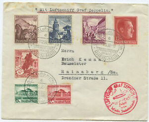 Deutsches Reich Zeppelin Brief Sudetenlandfahrt 1938 Hainsberg