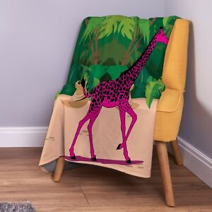Pink Giraffe Design Soft Fleece Throw Blanket