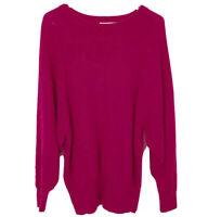 Vintage Pink Angora Blend Sweater Dolman Sleeves Slouchy Oversized Size Large