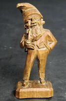 Vintage German Black Forest Brienz Wood Carving Miniature Gnome With Pipe