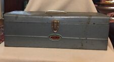 Vintage 1960's Dunlap Steel Toolbox with Shelf Dependable Quality Hammertone