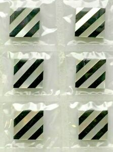 V214  12 Vintage Mosaic Inlay Tiles Cabs 10x10mm Diagonal Blk Onyx & MOP Design