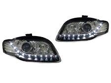 *14 PIN DEPO 06-08 AUDI A4/S4 B7 4D/5D R8 DRL LED BLACK XENON HID D1S HEADLIGHTS