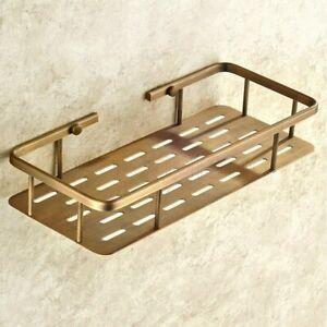 Vintage Retro Brass Wall Mounted Bathroom Shelf Storage Rack Basket Soap Holder