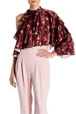 Lea & Viola Burgundy Floral One Shoulder Ruffled Chic Top Size M $148 SAKS FIFTH