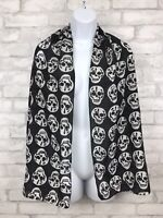 Lightweight Skull Scarf Wrap Black and White 62x18""