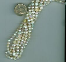 16 Inch Strand of Flat Round Multi Colored Fresh Water Pearls Pastel colors