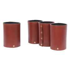 Leather Can Caddies Drink Koozie Coaster Brown Set of Four USA Made