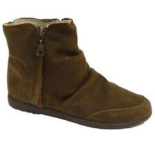 WOMENS BROWN ITALIAN LEATHER FLEECE LINED FLAT BOHO ZIP-UP ANKLE BOOTS SIZE 3-9