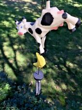 Vintage Rare Cow Jumped Over The Moon & Stars Windchime Garden Porch Home 15 X 5