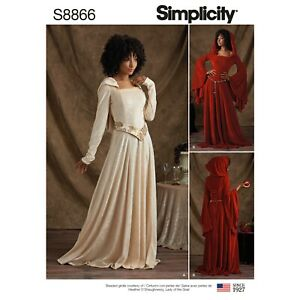 Simplicity Costume SEWING PATTERN S8866 Misses & Petite Hooded Dresses
