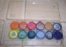 Peinture à l'eau enfant 12 couleurs orange, rouge, marron, noire, jaune, vert...