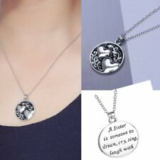2017 Woman Charms Sister Letters Crystal Reversible Pendant Necklace Family Gift