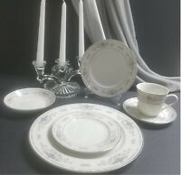 Porcelain China Diane made in Japan Vintage White Blue 4 Place Setting 24 Pieces