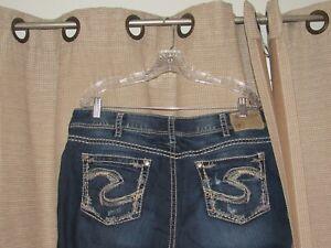 """SILVER SUKI 17"""" denim jeans womens sz 18 measure 38 x 33 thick stitch excellent"""