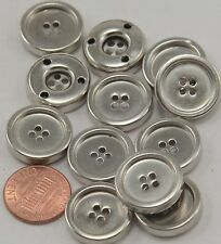 "12 Shiny Hollow Silver Tone Metal Sew-through Buttons 3/4"" 19mm # 7040"