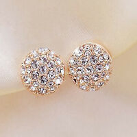 Fashion Full Crystal Elegant Round Gold Plated Stud Earrings Clip Jewelry Women