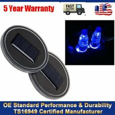 2Pcs Solar Energy Cup Holder Bottom Pad LED Car Light Cover Trim Atmosphere Lamp