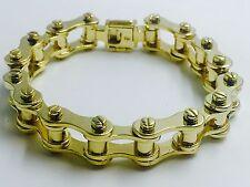 "14k solid gold mens motorcycle/bike chain bracelet 10.5"" 14mm 128 grams"