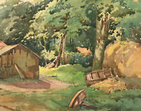 J.J. Broughton - Mid 20th Century Watercolour, Landscape with Cottage and Trees