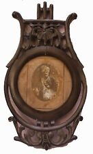 Old Antique Hand Carved Wooden Frame & Mirror Indian Rajasthan King Photograph