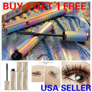 Crystal Case 4D Silk Fiber Eyelash Mascara Extension Makeup Black Waterproof