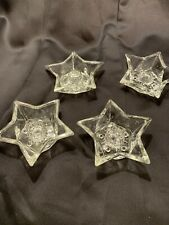 4 Vintage Clear Glass Star Shaped Taper Candle Holder  4 1/2""