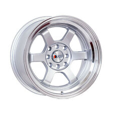 "F1R Wheels F05 Rims 15x8 4x100 4x114.3 +0 Offset 3"" Lip Silver with Polished Lip"