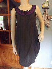 WoW NUMPH Mismatched Dress, Textured Grey Cotton, Purple Detail, Size 36 UK 10