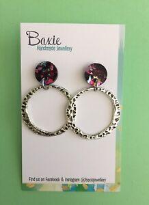 Dangle Earrings, Kaleidoscope Glitter Acrylic, Silver Metal Hoop, Surgical Stud