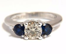 1.44CT NATURAL ROUND DIAMOND & SAPPHIRE THREE STONE CLASSIC 14KT+
