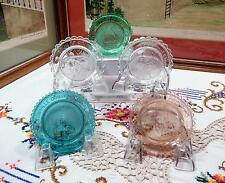 """5 PC VINTAGE CRYSTAL ASSORTED COLOR & PICTURE 3 1/2"""" CUP PLATES W/ DETAIL CARDS"""