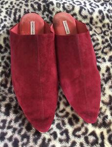 VINTAGE designer HERMES PARIS slippers Size 44 SuperSoft MAROON slip on Spain