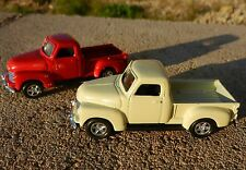 1:64 WELLY = 1953 Chevrolet 3100 Pickup Truck *SET OF 2* RED & TAN *DIECAST* NEW