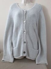J Jill L/S Light Gray Crochet Cardigan Sweater w/2 Pockets Sz XL ...Roomy Fit