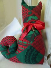 "14"" Stuffed/Plush Country Cat-Red/Green-Ribbon Collar with Bell-Christmas-Rustic"