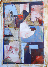 HUILE ORIGINALE-COLLAGE-ABSTRAIT-CONSTRUCTIVISME-CONTEMPORAIN-SIGNATURE-CUBISME-