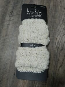 Nicole Miller New York Legwarmers Leg Warmers One Size ivory with gold tinsel