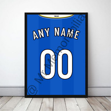 Blues in Chelsea Football Gift Framed Retro Shirt Poster - Any Name & Number