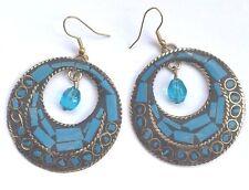 Bohocoho ECCENTRICO Stile Boho Gypsy 70s Mosaico Blu Cerchio Dangle Earrings