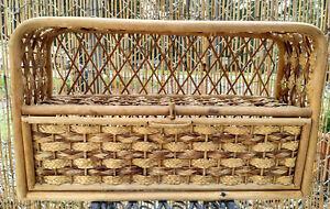 Vintage Wicker Rattan Bamboo Bathroom Wall Cabinet Vanity Shelf Boho Cottage