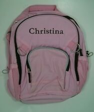 Pottery Barn Kids FAIRFAX Backpack Large Pink & Brown with name CHRISTINA New!