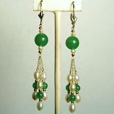14k solid gold natural green jade & white pearl beautiful earrings leverback