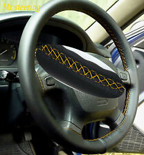 FOR RANGE ROVER P38 REAL BEST BLACK LEATHER STEERING WHEEL COVER YELLOW STITCH