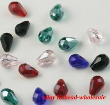 100pcs 8mm Mixed Rhinestone Crystal Teardrop Beads Spacer Findings