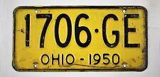 Vintage 1950 Original OHIO License Plate 1706-GE