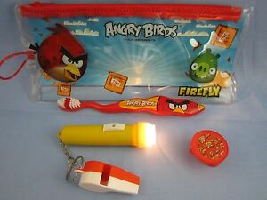 ANGRY BIRD TOOTHBRUSH TRAVEL CLUB KIT with FLASHLIGHT & TOY WHISTLE ( VERY FUN )