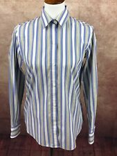 Liz Claiborne Long Sleeve Button Front Blue Stripe Top Shirt Women's 4